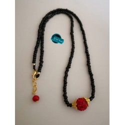 A short neck necklace made with silk thread